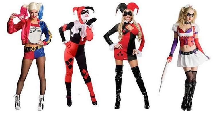 Harley Quinn red and black makeup
